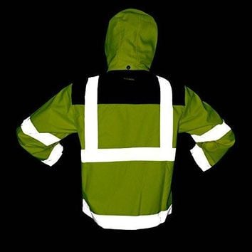 KwikSafety Class 3 High Visibility Safety Jacket, ANSI Reflective Soft Shell Jacket with Detachable Hood and Multiple Pockets, Construction, Motorcycle Hoodie ANSI/ISEA 107-2010, Yellow, Size 2XL