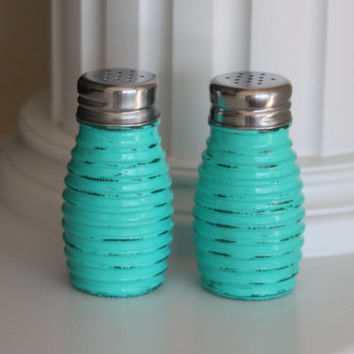 Shabby Chic Salt And Pepper Shakers, Teal Kitchen, Rustic Salt And Pepper  Shakers,