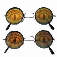 2 Round Lizard EYE Reptile Hide Your Poker Eyes Hologram 3d Sunglasses