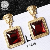 Versace Fashion New Human Head Gem Long Earring Accessories Women Red