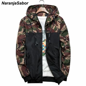 NaranjaSabor Spring Men's Jackets Camouflage Military Hooded Coats Casual Zipper Male Windbreaker Men Brand Clothing N434