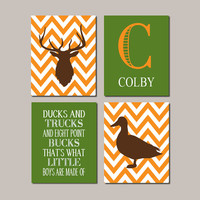 Baby Boy Nursery Decor Deer Duck Rustic Nursery Country Nursery Quote Monogram Set of 4 Prints Boy Playroom Boy Bathroom Hunting Bedroom