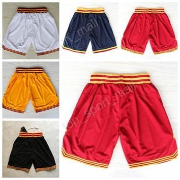 Cleveland 23 LeBron James Basketball Shorts Cheap Breathable 2 Kyrie Irving Short Pant Men Sportswear All Stitched Team Red Black White