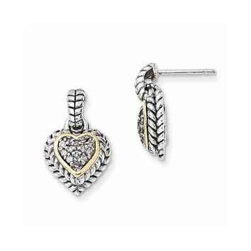 Antique Style Sterling Silver with 14k Gold 1/4ct. Diamond Earrings