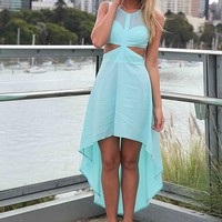 Blue Chiffon Hi-Lo Dress with Cutout Detail&Sweetheart Neck