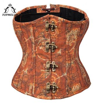 TOPMELON Steampunk Underbust Corset Bustier Gothic Sexy Corset Women Corselet Retro Tan Buckles Gears Pattern Corset Tops
