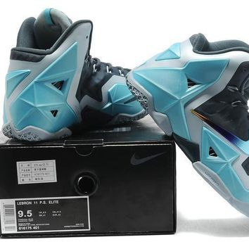 Lebron 11 Xi P.s Elite Gray/blue Sneaker Shoe