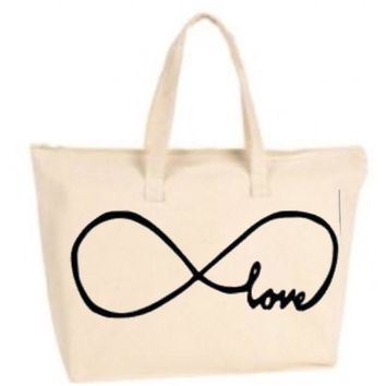 Forever Love Infinity Sign Large Tote Bag with zipper closure  - Beach Bag, Purse, Gift Bag