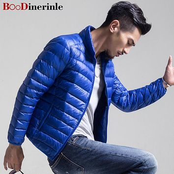 BOoDinerinle Spring Autumn Thin White Duck Down Jacket Men Casual Ultralight Male Feather Jackets Coat Ultra Light Coats YR028
