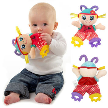 Baby Infant Cute Girl Plush Doll Comfort Towel with Sound Paper and Teether Soft Appease Stuffed Toy Playmate Calm Doll