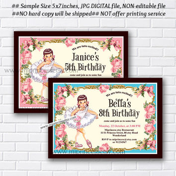Ballerina Birthday Invitation, sweet girl tutu dance birthday Party , kids, 1st 2nd 3rd 4th 5th 6th 7th 8th 9th 10th 18th 16th - card 842