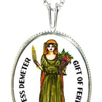 "Goddess Demeter of Fertility 925 Sterling Silver 1"" Pendant & 20"" Chain Necklace"