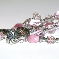 Pink and Silver Icicle Ornaments - beaded heart Christmas tree decorations