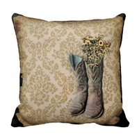 vintage cowboy boots western country damask throw pillows