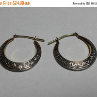 SALE Vintage Sterling earrings with gold filled posts and design, Silver filigree hoop earrings, Sterling hoop earrings, Gngerslittlegems