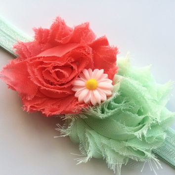 Mint Green and Coral Flower Headband for Girls - Spring Headband - Easter Head Band - Shabby Flower Head Band - Mint Green Headband