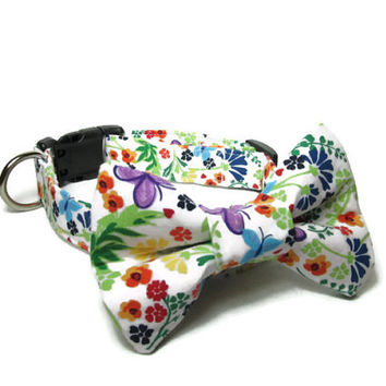 Designer Dog Collar and Bow Tie CUSTOM Spring Flower bouquet and matching bow tie - dog collar and bowtie, boy dog collar