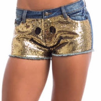 Emoji Sequin Jeans Short