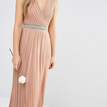 TFNC WEDDING Pleated Embellished Maxi Dress at asos.com