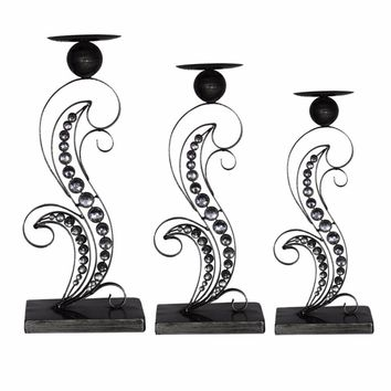 Alluring Metallic Candle Holder, Black, Set Of 3 By Benzara