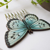x2 Beautiful Butterfly Hair Comb Set Something Blue Bridal Hair Accessory Barrette Hair Clip Pretty Fashion Statement Ready to Ship