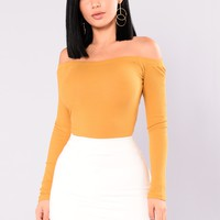 Overdrive Off Shoulder Top - Dark Mustard