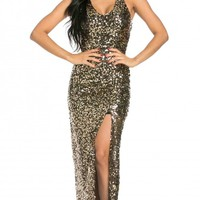 Side Slit Sequin Maxi Dress in Black and Gold