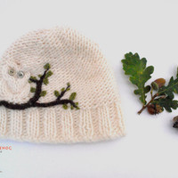Eco Friendly, Owl Hat, Hand Knit, for you with 100% Pure New Wool in the colour Ivory White