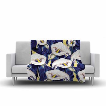 "mmartabc ""Pattern Calla Lily Flower"" Blue Yellow Floral Vintage Illustration Digital Fleece Throw Blanket"