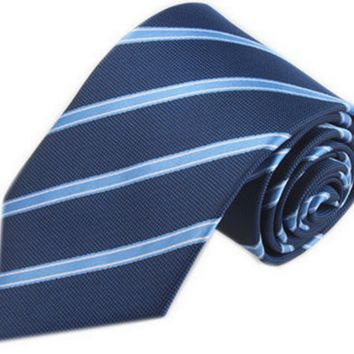 Light Blue Striped Tie on Dark Blue Background