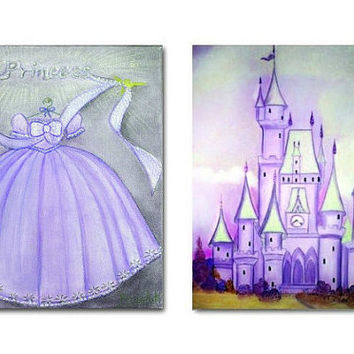 Princess Decor, Baby Girl Nursery Art, Cinderella Dress, Castle Wall Art, Purple, SET 2, Princess wall art, Girl Nursery decor, Kids art