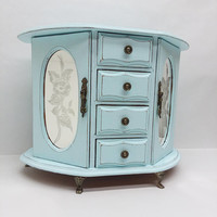 Shabby Chic Rustic Vintage Wooden Jewelry Box Armoire Painted Light Blue Distressed Refurbished Upcycled Mirrored Doors Claw feet
