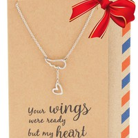 Tasha Heart Lariat Angel Wing Necklace, Sympathy Gifts