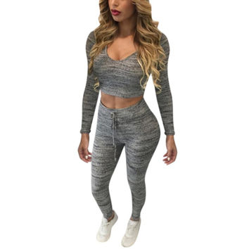 Women Tracksuit Brand Pullover Suit V Neck Sexy Women Set