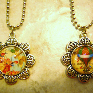 Jewelry Pendants - Handmade Glass Image Pendant, Steampunk Designs
