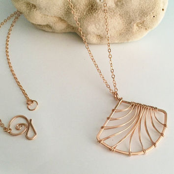 Long Rose Gold Filled Fan Necklace. N381GF-L  - wire jewelry by cristysjewlery on etsy