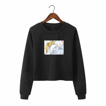 Harajuku Cartoon Sailor Moon Korean Japanese Style Crop Top Hoodie Kawaii Clothes Womens Clothing Sweatshirts Casual for Girls