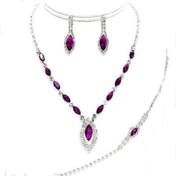 Affordable 3 Pcs Jewelry Amethyst Purple Clear Rhinestone Earrings Necklace Bracelet Set Bridal Prom