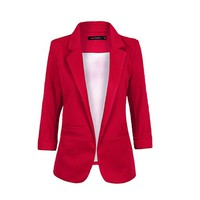 MapleClan Candy Color 3/4 Sleeve Women Blazer OL Business Suit Wine Red - XXL