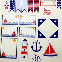 Set of 23 Nautical Themed Stickers for your Erin Condren (ECLP), Plum Paper, Happy Planner, Kikki K,  Filofax or any planner!!
