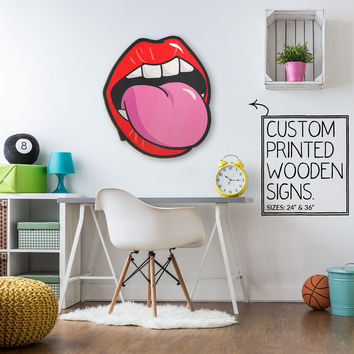 Tongue Out Tag Custom Wood Patch Printed Sign Unique Trendy Game Room