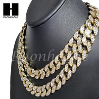 "Iced Out 14k Gold PT 15mm 8.5"" - 36"" Miami Cuban Choker Chain Necklace Bracelet"