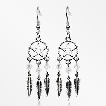 A Pair of The Pentagram Dreamcatcher Feather Earring
