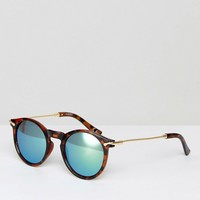 ASOS Round Sunglasses With Metal Arms And Flash Lens at asos.com