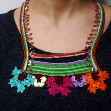 Geometry - Basics-Statement Necklace-Beaded Crochet-Freeform Crochet Beaded Necklace -Beadwork Bib Statement Necklace-