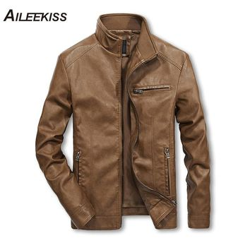 Men Solid Casual Biker Leather Jacket - Pilot Jacket