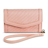 Women's Woven Leather Texture Cell Phone Case Wallet - Pink
