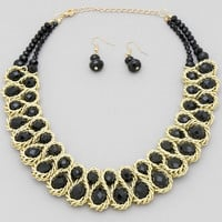 Black Glass and Gold Braided Chain Necklace
