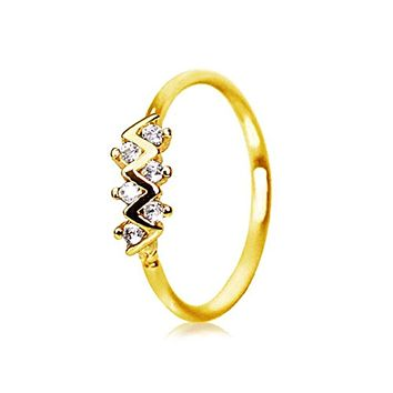Gold Plated Jeweled Zig-Zag WildKlass Cartilage Earring/Nose Hoop Ring