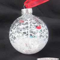 Hand-Painted Glass Christmas Ball Ornament - White Trees, Cardinals, Snow (C-101) - Gift Box Included - Ornament Exchange Gift